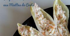 Ces Barquettes Endives & Miettes de crabe sont idéales pour alléger les apéros dînatoires et amener une note de fraîcheur. Cette recette peut être déclinée pour en faire une entrée légère avant un plat copieux. Ingrédients : - 3 petites endives - 180g de miettes de crabe ou de surimi râpé - 1 pot de fromage blanc - 2 echalottes - 1 jaune d'oeuf - 1Cc bombées de moutarde - Sel - poivre - Ciboulette (facultatif)