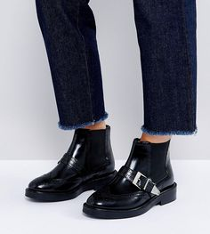 ASOS ANTHEM Wide Fit Leather Ankle Boots - Black