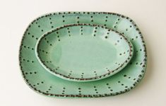 Stoneware Oval Square Plate Dots Design - Aqua Mist French Country Dinnerware - 7 Color Choices - One Dish - Made to Order Pottery Plates, Ceramic Plates, Ceramic Pottery, Farmhouse Dinnerware, Modern Dinnerware, Aqua, Modern French Country, Modern Farmhouse, Pasta Bowl Set