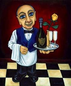 Carlito by Artist: Will Rafuse ~  Sommelier, waiter, champagne, yellow rose