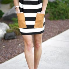 Here is how to add leather pockets to any dress or skirt!