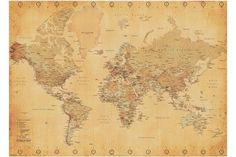 Buyartforless Framed World Map (Vintage Style) Art Print Poster Wall Decor Vintage World Map Poster, Posters Vintage, Antique World Map, Retro Poster, Old World Maps, Vintage Maps, Antique Art, Fotos Wallpaper, World Map Wallpaper