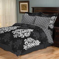 7 Pieces Black and Grey Micro Suede Comforter Set Bed-in-a-bag ... : black and white king quilt set - Adamdwight.com