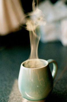 steaming coffee in a beautiful mug