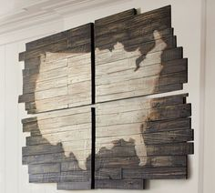 Barn wood Artwork from Pottery Barn - can completely remake, but not with a map