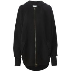 Givenchy Oversized Knit Hoodie ($1,700) ❤ liked on Polyvore featuring tops, hoodies, jackets, outerwear, black, zip front hoodies, long sleeve hooded sweatshirt, long sleeve knit tops, hooded pullover and long sleeve tops