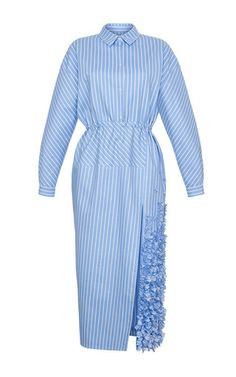 This long sleeve **RUBAN** dress is rendered in striped cotton and features a button up style with a cinched waist and a 3D ruffle applique along the skirt.
