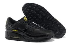 Mens Nike Air Max 90 Essential Black Golden Sash Trainers UK