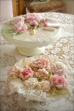 rose, brooches, shabby chic, shabbi chic, ribbon, display, cottages, blog, handmade flowers
