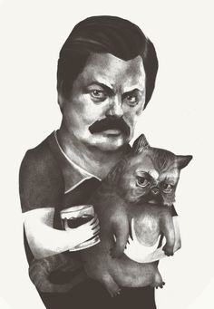 ron swanson, a glass of lagavulin and a cat... perfect
