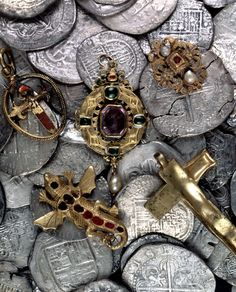 Silver and gold artefacts form the Girona. This Spanish Armada ship sank off the coast of Antrim, Ireland in October 1588 Photo: National Museum of Northern Ireland