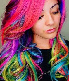 pink green rainbow streak dyed hair