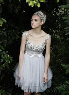 Shimmer in Silver Chiffon Cocktail Dress  www.ustrendy.com