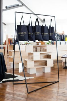 Menske custom totes. Photo -Katie Goodwin on thedesignfiles.net