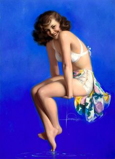 Rolf Armstrong pin-up girl painting - 1947