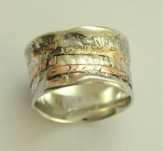 Sterling silver with rose and yellow gold unisex band - Simple love. by Jackbaby