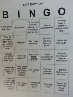 Pharmacy bingo! 100% printing these out to play at work :) Everyone can be in a good mood!!!!