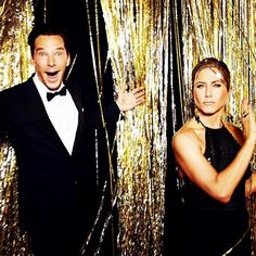 Benedict Cumberbatch and Jennifer Aniston at the 2015 #goldenglobes (Photo by @ellenvonunwerth) @goldenglobes - Photo: Courtesy of @goldenglobes