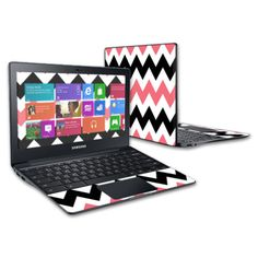 Skin-Decal-Wrap-for-Samsung-Chromebook-2-11-6-cover-Black-Pink-Chevron
