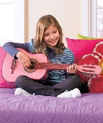 """*NEW*FOR THAT BUDDING MUSICIAN ~ 30"""" Pink WOODEN GUITAR WITH CASE"""