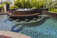 Modern Courtyard: modern architecture, warm modern, organic architecture, rich organic materials, organic style, large overhang, smooth stucco, stucco finish, beautiful custom designed pool, submerged bar pool and spa, wood pool deck, modern landscaping, outdoor wall sconce lighting,