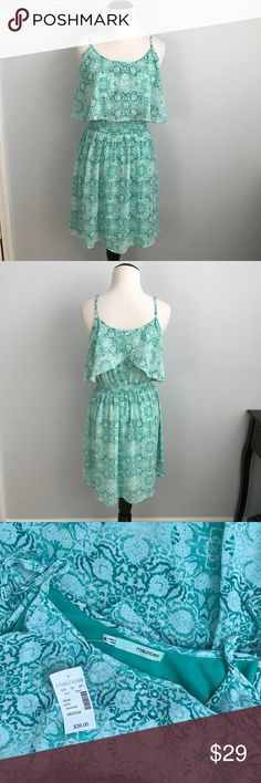 Green & white pattern flowy dress size medium NWT Green & white pattern flowy dress size medium   NWT adjustable shoulder straps and elastic waist make sure this is comfy as well as cute Maurices Dresses