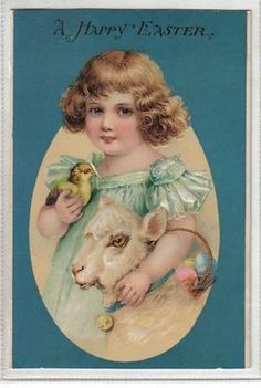 Blue Back Girl & Chick & Lamb Easter Egg Holiday Greeting Antique Postcard P1359 (02/27/2013)