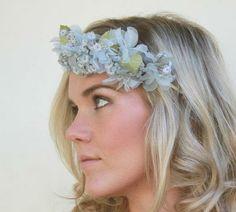 vintage floral crown, light blue floral headband , flower tiara , pale blue flower , bridal headpiece