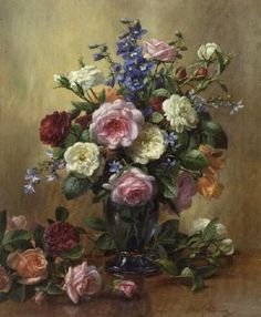 Roses and Larkspur (oil on canvas) Wall Art & Canvas Prints by Albert Williams