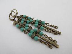 Boho Chandelier Chain Earrings  Turquoise Green