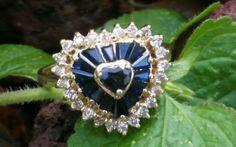 Vintage 14k Yellow Gold Diamond Sapphire by UniqueRepeatsJewelry