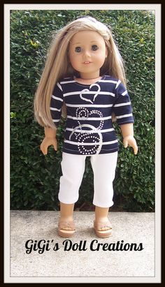 a09b10a1d6a059 Navy and White Capri outfit fits American Girl Doll Isabelle or other dolls