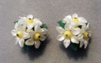 """Germany 3 daisies & 3 leaves on a gold setting, clip earrings. Cute! Good condition.    1 1/2"""" Diameter    $15.99 Item 118"""
