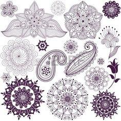 motif indien: Ensemble des éléments de conception monochromatiques isolées sur fond blanc (vecteur) Illustration