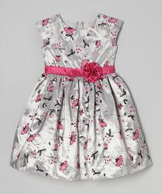 caf7db8176d Take a look at this Gray   Pink Floral Cap-Sleeve Dress - Girls on