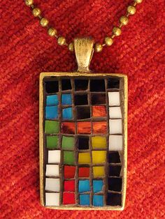 Tetris mosaic necklace