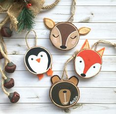 Hand painted wood slice Christmas ornaments - Before After DIY Penguin Ornaments, Wooden Ornaments, Diy Ornaments, Wooden Reindeer, Picture Ornaments, Painted Ornaments, Tree Decorations, Christmas Decorations, Kids Christmas Ornaments
