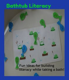 Bathtub Literacy- Fun ideas for the bathtub to build literacy skills from Growing Book by Book