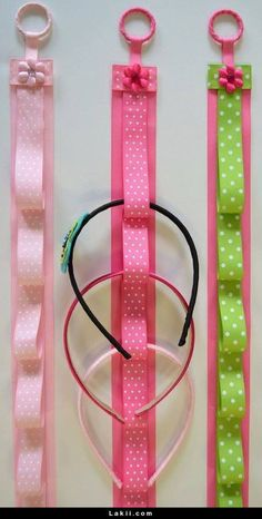 HEADBAND HOLDER - Boutique Handmade Ribbon Hanging Headband Holder -24 Inches…