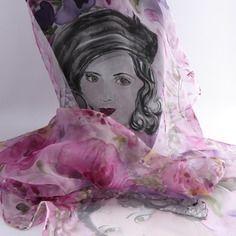 """Etole écharpe foulard en mousseline de soie peint main """" mademoiselle rêve ! """""""