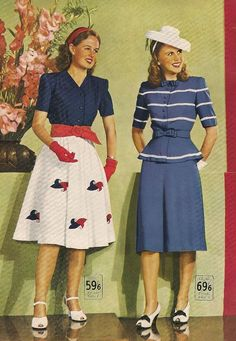 Wakes catalogue, Spring-Summer 1946 vintage fashion style post war era swing mid 40s summer dress blue red white hat shoes gloves shirt skirt stripe print