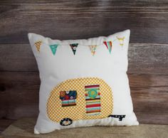 Item #102. Camper Pillow. Vintage Camper. Camping decor. Glamping decor. Camping Pillow. Pillow with Campers. Camping