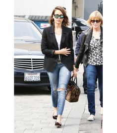 @Who What Wear - Jessica Alba                 Alba's off-duty look costs over $2295.  7 For All Mankind The Slim Cigarette Jeans ($225); A.L.C. Lucas Duffle Bag ($1095), Charlotte Olympia x Tom Binns Kitty Anarchy Velvet Slippers ($795); Westward Leaning Color Revolution No.9.7 Mirror Sunglasses ($180).