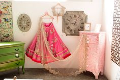 Anushree Reddy Bright Pink Embroidered #Lehenga With Beige Embroidered #Blouse & Transparent Beige Dupatta.