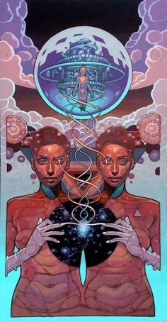 "joshuamaysart: 'Innerfusion,' 2015 One of the new works by Joshua Mays on exhibit in ""The Celestian Prophesy"" at Oakland Terminal. Kunst Inspo, Art Inspo, Art And Illustration, Fantasy Kunst, Fantasy Art, Dope Kunst, Arte Peculiar, Science Fiction Kunst, Arte Cyberpunk"