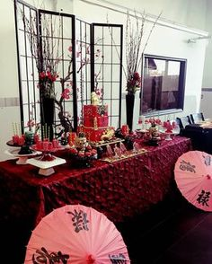 Asian Themed Baby Shower 👣🏮🎎 Planning & Styling by me All treats and sweets Cake… Chinese Birthday, Japanese Birthday, Chinese New Year Party, Japanese Theme Parties, Japanese Party, Japanese Wedding, Asian Party Decorations, Asian Party Themes, Party Ideas