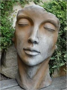 Busts – girl bust for the garden and the apartment made of stone cast; Stone figures made of frost-resistant antique stone casting. Art Sculpture, Pottery Sculpture, Bronze Sculpture, Pottery Art, Garden Sculpture, Photo Sculpture, Face Planters, Pottery Store, Clay Faces