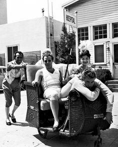 James Dean visits Marlon Brando on the set of Desiree (1954)