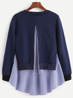 To find out about the Navy Striped Ruffle Detail 2 In 1 Sweatshirt at SHEIN, part of our latest Sweatshirts ready to shop online today! Hijab Fashion, Girl Fashion, Fashion Dresses, Fashion Design, Kurta Designs, Blouse Designs, Casual Dresses, Casual Outfits, Plus Size Cocktail Dresses