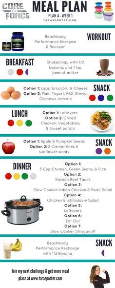 Core De Force Meal Plan - Week 1 #weightlossbeforeandafter